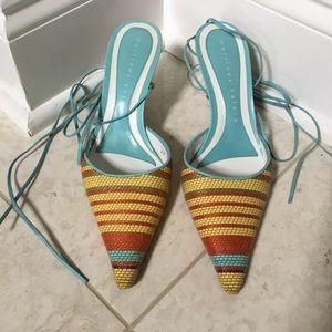 MARTINEZ VALERO linen Tie Wrap Ankle Lace heel 7 M
